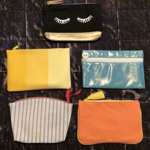 5 New Ipsy cosmetic makeup bags.